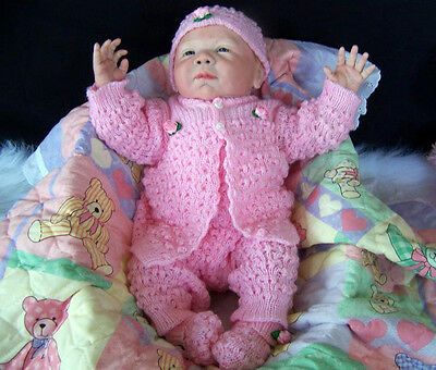 FUN Knit Baby Doll Outfit w/Pink Satin Roses For Reborn PINK