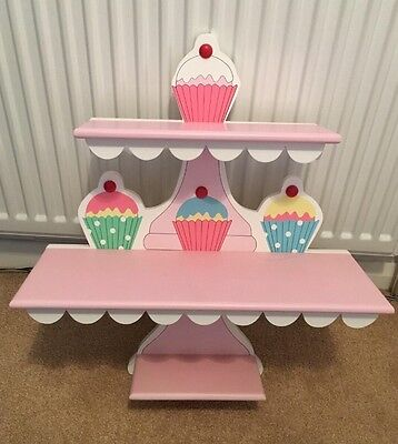Cupcakes Shelving Unit 3 Shelves For Girl's Room Storage Pink Shelf GU46