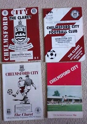 Chelmsford City FC football programmes 1993 - 1995