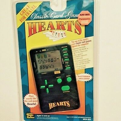 1995 MGA Classic Card Games Hearts  Handheld Electronic Game  New