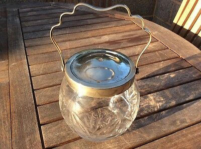 Vintage/retro Silver Pn Rim/lid/handle Crystal Cut Glass Biscuit Barrel Vgc