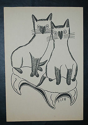 Print of a pair of cat signed Fish
