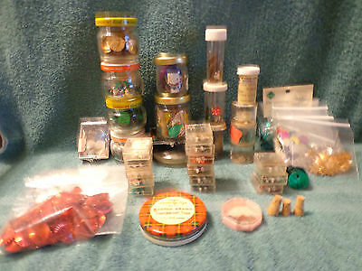 CRAFTS BOX Fancy Bright Assorted Sequins Over 40 Containers Vintage
