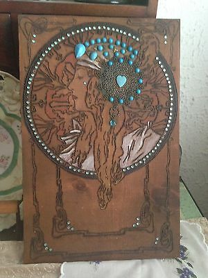 Vintage ART DECO Wood CARVED Jewels LADY PORTRAIT Pyrography WALL PLAQUE Burned