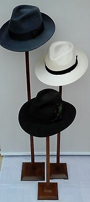 Graduated Trio of Vintage, Art Deco, Wooden Hat Stands, Millinery Shop Display.