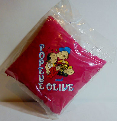 POPEYE AND OLIVE VTG 80's 6'' DARK RED SOFT PILLOW w/ CORD UNUSED SEALED