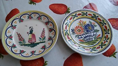 "Pair of Quimper Yellow Pattern 7.25"" Plates"