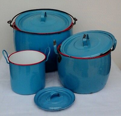 Trio of Graduated Vintage French Enamel Lidded Cooking Pots. Kitchenalia.