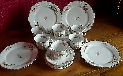 Vintage J C Limoges Bone China Cups, Saucers and Plates