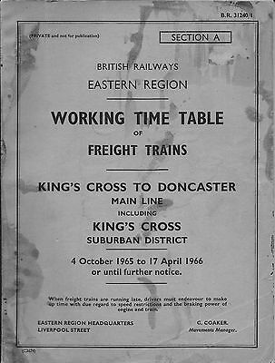 British Railways (Eastern Region) working timetable 1965-66