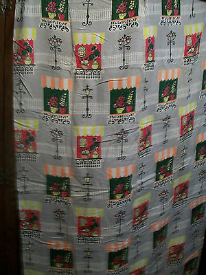 Vintage 1950s fabric door curtain, good condition