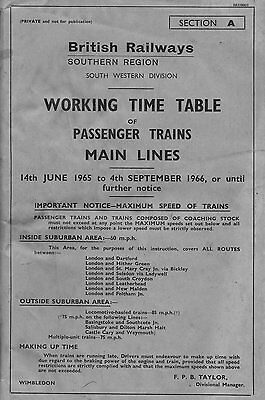 British Railways (Southern Region-SW division) working timetable 1965-66