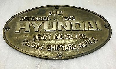 Vintage Marine Nautical Plaque Hyundai Heavy Ind.co.ltd Ulsan Shipyard Korea1983