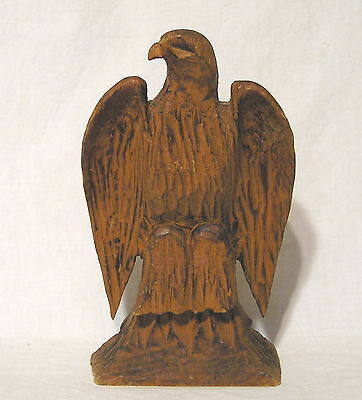"""Tooled By Hand Craved Primative Wooden Eagle Candlestick Holder 7"""" Tall Unmarked"""