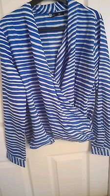 H&M Blue and white stripe top size 16