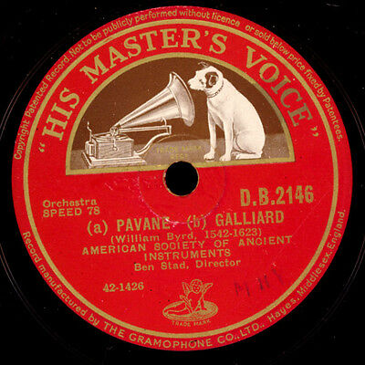 AMERICAN SOCIETY OF ANCIENT INSTRUMENTS -Barock- a)Pavane b) Galliard 78rpm G967