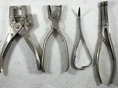 Assortment of 4 Orthodontic Pliers Vintage, SS White, Sargent