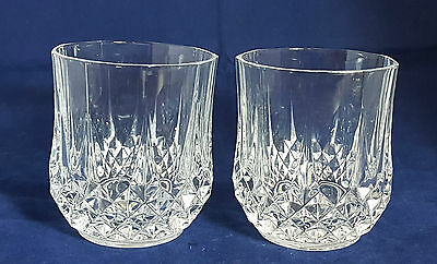 Pair of Beautiful Cut Glass / Crystal Whiskey Tumblers by Cristal D'arques