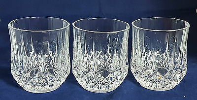 3 Beautiful Cut Glass / Crystal Whiskey Tumblers by Cristal D'arques