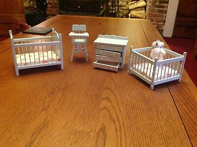 doll house pale green 4 piece nursery set 1.12th scale
