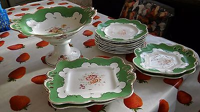 19th Century Hand Painted Green Bordered Porcelain Comport & Plates
