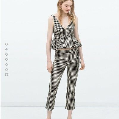 Zara Cropped Gingham Trousers Size L 12/14 Zip Up Side