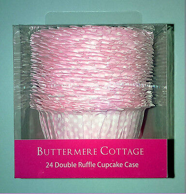 24 DOUBLE RUFFLE CUPS CUPCAKE or MUFFIN CASES Pale Pink & White POLKA DOT Large
