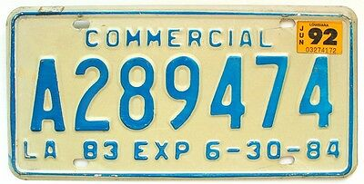 Vintage Louisiana 1983 1992 Commercial Truck License Plate, Nice Quality