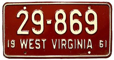 West Virginia 1961 License Plate, Vintage, High Quality Beauty