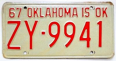 Oklahoma 1967 Tulsa County License Plate in Very Good Condition ZY-9941