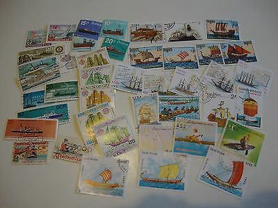 Small Collection of 40 Worldwide Thematic Stamps - Boats/Boating.