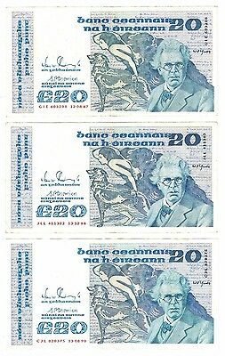 Ireland Eire 20 Pound Punt 3 Collectors Banknotes Series B