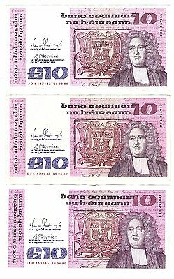 Ireland Eire 10 Pound Punt 3 Collectors Banknotes Series B