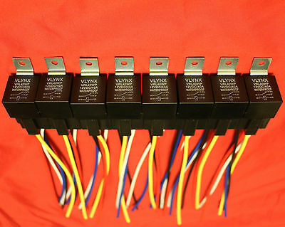 Qty10 Relay+10 Interlocking 5 Pin Sockets 12V 40A Quality Waterproof Spdt