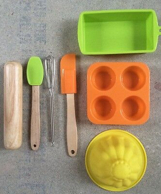 Baby Cie Childrens Baking Set Silicone Rubber Wood Mould Muffin Utensils