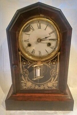 Jerome & Co Dreadnaught Striking Mantle Clock in Mahogany Case - 1879 - GWO
