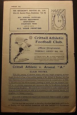 Crittall Athletic v Arsenal A East Anglian Cup 30 August 1951