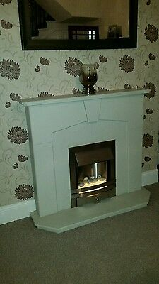 stone effect fireplace and electric fire