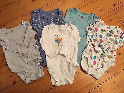 M&S Baby Girl Long Sleeve Body Suits Pack Of 5 12-18 Months