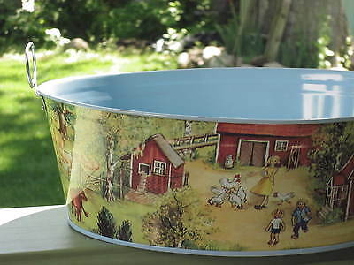 SCHYLLING Metal Tin Basket 1996 Container from Estonia COUNTRY FARM VINTAGE
