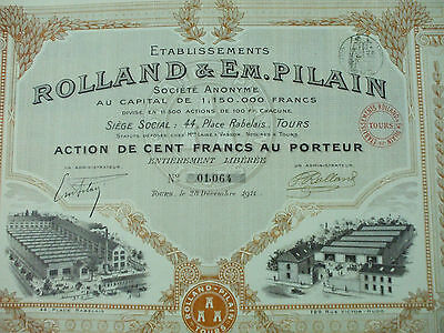 action automobiles rolland pilain 1911 100 francs 43 coupons