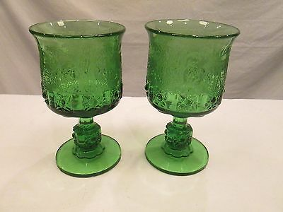 2x GREEN Black Forest LG Wright Fenton Etched Daisy & Cube Moose Glass Goblets