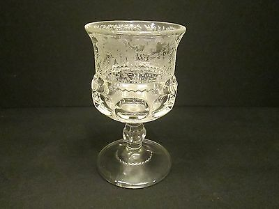 1x CLEAR Black Forest LG Wright Fenton Etched Kings Crown Moose Glass Goblet