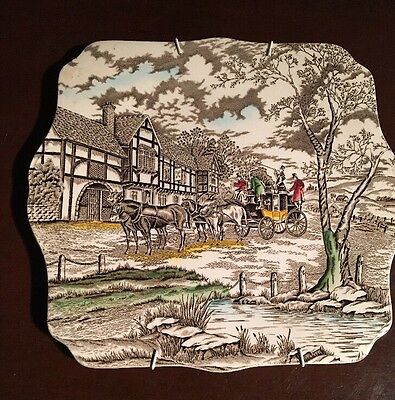 Myott Royal Mail Hand Engraved Staffordshire Ware Square Plate
