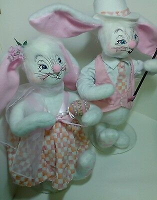 """2003 Easter 20""""  Large Annalee Boy & Girl Bunny EXCELLENT!"""