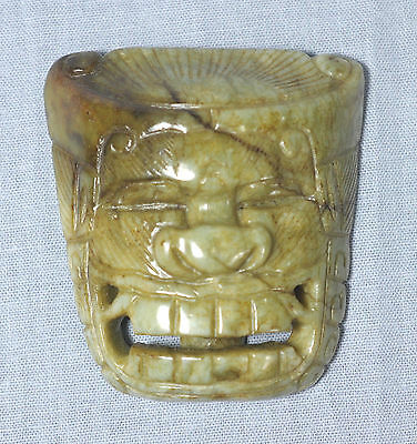 Nice  Carved  Chinese  Antique  Jade  Stone  Mask  Belt  Buckle