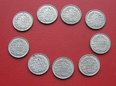 9 silver Netherlands 10 cent coins 1937-1941 (ref 782)