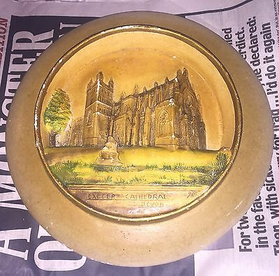 Decorated Dinner Sized Plate With 3D Design Of Exeter Cathedral In Devon