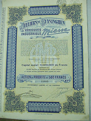 action automobiles vehicules industriels Miesse  bruxelles 28 coupons 1918