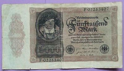 Germany 5000 Mark note 1922............D 163